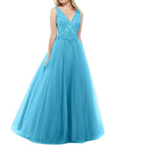 Partykleider Abendkleider Langes La Promkleider Abschlussballkleider Tuell Prinzess Spitze Tanzenkleider mia Brau Blau qwY4Yaf