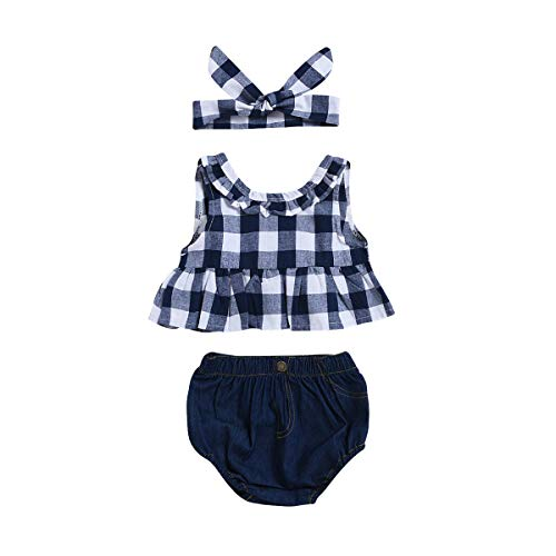 Baby Girls Romper Plaid Outfits Ruffle Sleeve Top+Denim Shorts+Bowknot Headband (Blue, ()