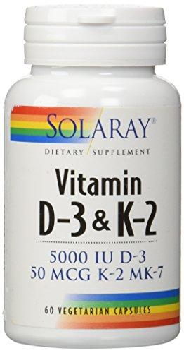 Solaray Vitamin D-3 & K-2 — 60 Vegetarian Capsules