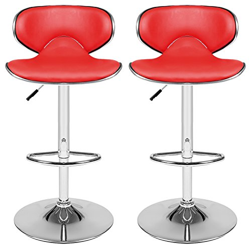 Cheap Homdox Bar Stool Adjustable Synthetic Leather Swivel Bar Chairs, Set of 2(Red)