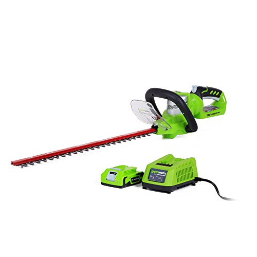 Greenworks 22-Inch 24V Cordless Hedge Trimmer, 2.0 AH Battery Included HT24B10 by Greenworks