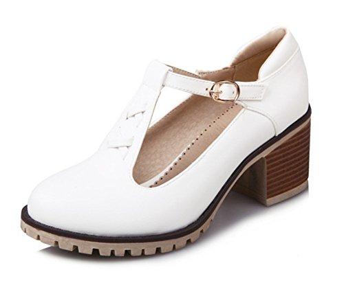 Aisun Femmes Douce Bout Rond Boucle Robe Empilée Talons Moyens Pompes Chaussures Avec Des Sangles De Cheville Blanc 1