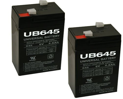- 6V 4.5Ah General 00648 Sealed Non-Spillable Emergency Light Battery WKA6-5F - 2 Pack