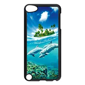 IPod Touch 5th Case,Cute Dolphins Blue Sea And Sky High Definition Wonderful Design Cover With Hign Quality Hard Plastic Protection Case