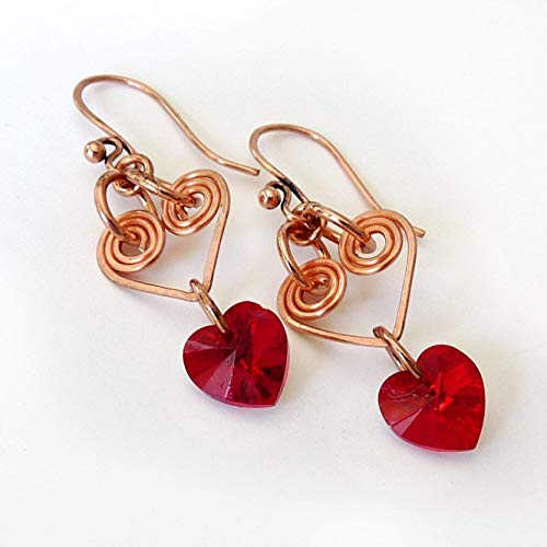 - Valentine Red Crystal Heart Dangle Earrings - Handmade Rose Gold Copper, Wire Wrapped -Artisan Heart Drop Earrings- Valentine's Day Gift, Mother's Day Gift, Gift for Women, Birthday Gift, Gift for Her