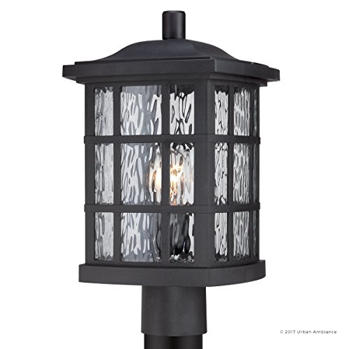 Luxury Craftsman Outdoor Post Light, Medium Size: 16.5''H x 9.5''W, with Tudor Style Elements, Highly-Detailed Design, High-End Black Silk Finish and Water Glass, UQL1246 by Urban Ambiance by Urban Ambiance (Image #7)