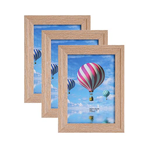 Metrekey 5x7 Picture Frame (3 Pack, Oak Wood Finish), Photo Frame 5x7,for Table Top Display and Wall mounting Photo Frame