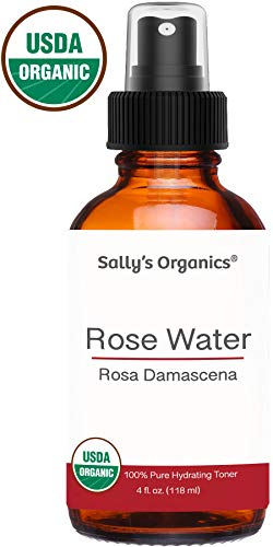 4oz Pure Organic Rose Water - Therapeutic Grade, Bulgarian, Hexane-free, Alcohol free - Best for Facial Toner, Skin, Hair, Body Care, Travel Spray, or Spritz Anywhere - Glass Bottle, Fine Mist Sprayer ()