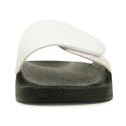 Glijssandalen Voor Dames, Ecladea Comfortabele Dames [waterdicht] Slip-on Glijslip Sandalen [platte Sloffen] Verstelbare Wreefband Met Haak-en-lussluiting [70057], Wit Glanzend Maat 6 [us Size]