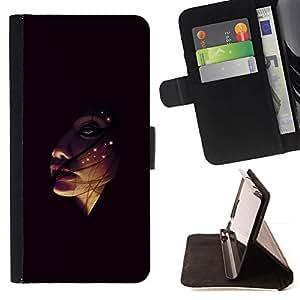 Momo Phone Case / Flip Funda de Cuero Case Cover - Face In The Dark;;;;;;;; - Samsung ALPHA G850
