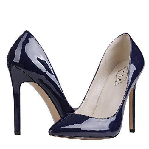 EKS - Merceditas de tacón alto Mujer Azul - Blau-C-Lackleder