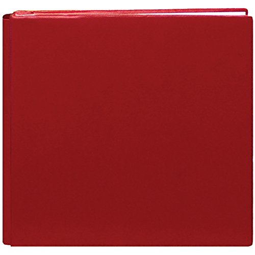 Pioneer 12 Inch by 12 Inch Postbound Leather Family Treasures Memory Book, Red