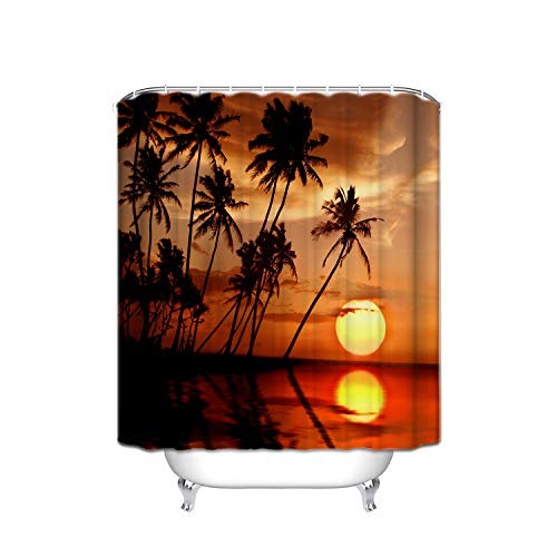 - ATOLY The Strongest Mildew Shower Curtain On The Ocean Beach Market, Sunset Beach Palm Trees, 100% Waterproof, 72 (W) X 80 (L), Orange Black