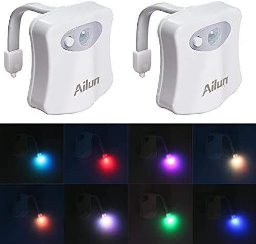 Toilet Night Light 2Pack through Ailun Motion Activated LED Light 8 Colors Changing Toilet Bowl Nightlight for Bathroom Battery Not Included Perfect Decorating Combination Along with Water Faucet Light