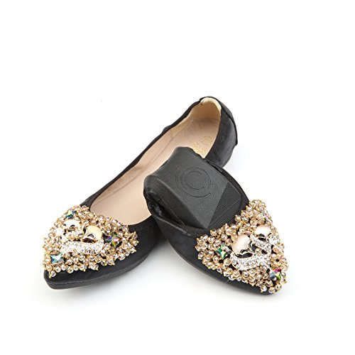 Shoes Point Slip Bridal Toe Women Foldable Flats Rhinestone On Black Flat 2 Luobote Ballet pqCPCR