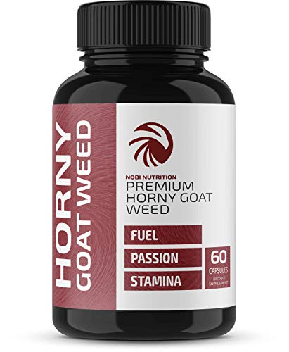 Nobi Nutrition Premium Horny Goat Weed Extract - Extra Strength with Maca Root, Ginseng & Tribulus - Natural Energy and Performance Boost for Men & Women - 1000mg Epimedium Powder Pills - 60 Capsules