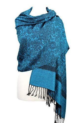 Paskmlna Paisley Jacquard Pashmina Shawl Wrap Scarf Stole (Blue0185) - Scarf Brocade Silk