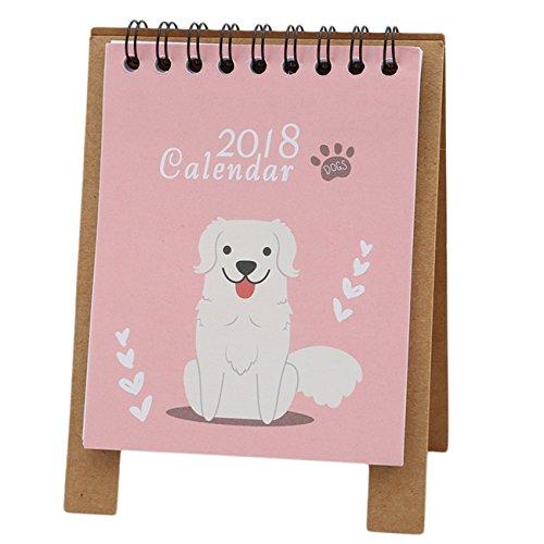Rurah Calendar 2018 Cute Cartoon Desktop Paper Calendar Monthly Flip Desk Mini Desktop Daily Scheduler,puppy