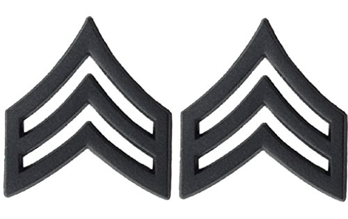 U.S. Army Metal Pin On Enlisted Rank BLACK - 1 PAIR (E5 SGT)