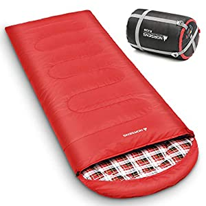 NORSENS 0 Degree Celsius Cold Weather Sleeping Bag for Camping, Backpacking, Hiking. Large Outdoor Compact Sleeping Bags with Compression Sack for Adults. 90.5 x 32.6 inch (6.red with 5.5lbs Filling)