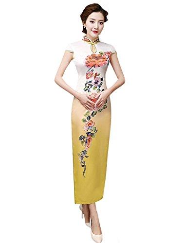 Frauen ACVIP Qipao Art Chinesische Party Polyester Cheongsam Bankett Kleid Langes für FqdqwS