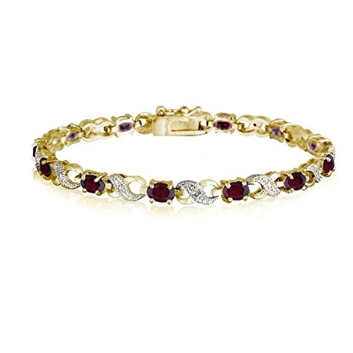 Gold Tone 6.6ct Created Ruby & Diamond Accent Infinity Bracelet