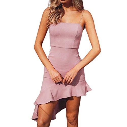 Vestidos Dobladillo Irregular de Verano Cremallera Vestidos Largos Mujer Playa Mujer 2018 Tirantes Vestidos Flaco Vestidos Sexy Largos Vestidos Verano EUZeo Rosa con Ow0qz7w8