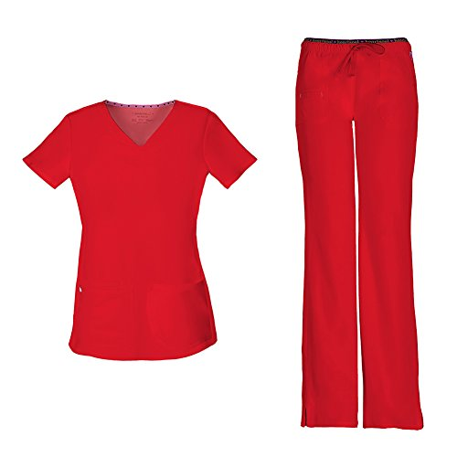 HeartSoul Women's Pitter-Pat Shaped V-Neck Scrub Top 20710 & Heartbreaker Heart Soul Drawstring Scrub Pants 20110 Medical Scrub Set (Red - Large/Large) -