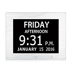Upgraded - Hurrah Extra-Large Memory Loss Digital Calendar Day Clock with Non-Abbreviated Day (Brushed Silver)