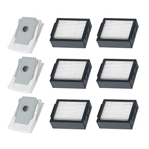 Replacement Parts Automatic Dirt Disposal Bags and High-Efficiency Filters Compatible Roomba i7, i7+, i7 Plus, E5, E6, E7 Vacuum Cleaner(3 Dust Bags+6 Filters)