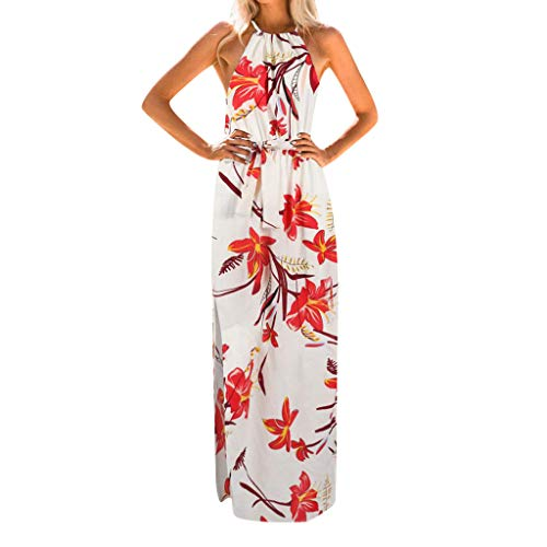 aihehe Women's Summer Dress Casual Loose Beach Party Cover Up Long Plain Print Cami Maxi Dresses with Belt(Red,S) ()