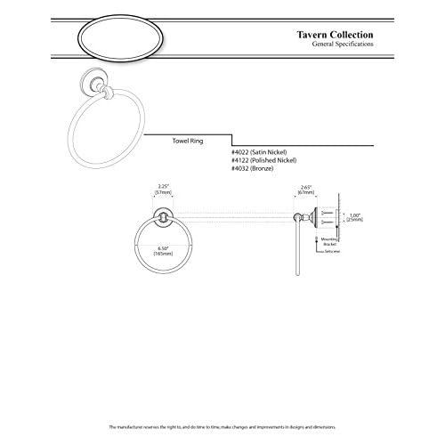 high-quality Gatco 4122 Tavern Towel Ring, Polished Nickel