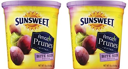 Sunsweet Amazin Prunes, Bite Size Pitted Prunes, 2 16 oz Containers of Dried Plums - GREAT - Plums Sunsweet Dried Plum
