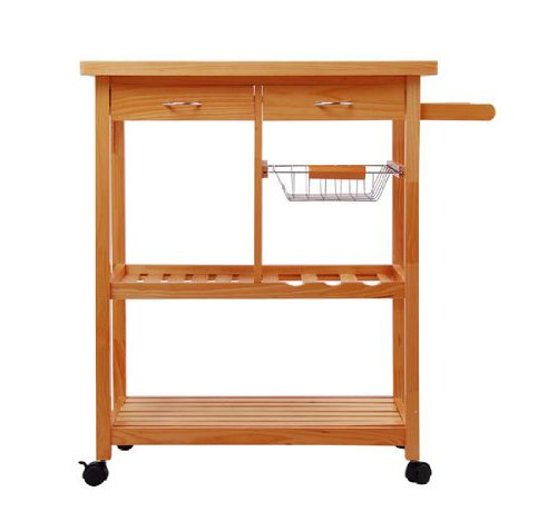 Tenive Pine Wood Dining Trolley Rolling Kitchen Trolley Cart Kitchen Utility Cart Kitchen Island