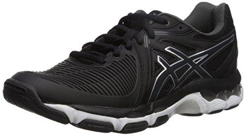 - ASICS Womens Gel-Netburner Ballistic Volleyball Shoe, Black/Dark Grey/White, 6.5 Medium US