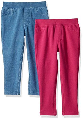 - Spotted Zebra Toddler Girls' 2-Pack Knit Jeggings, Fuchsia/Light Indigo, 2T