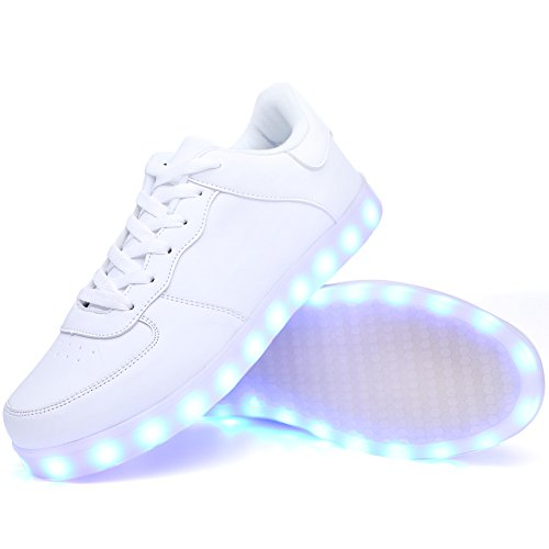 Ryanmay Boys Girls and Kids Shiny Night LED Light Up Shoes USB Charging Flashing Sneakers For children 02white E4X0F4