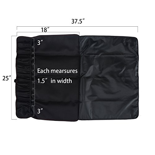 Tosnail Chef Knife Case Roll Bag with 21 Slots & 1 Large Zipper Pocket, Easy Carry Handle and Shoulder Strap - Black by Tosnail (Image #2)