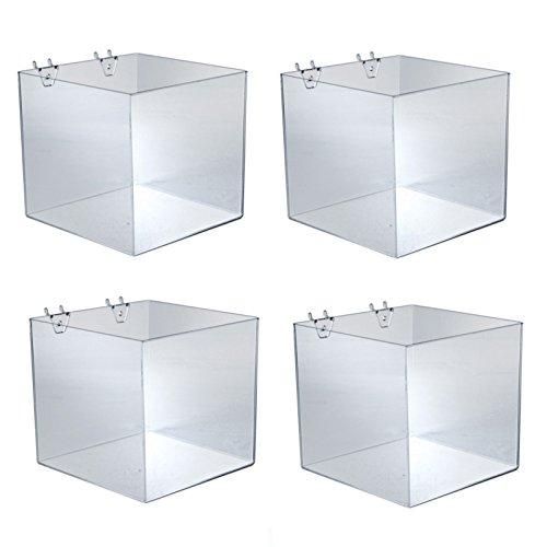 Marketing Holders Lot of 4 New Pegboard & Slatwall 8 Inch Cube Bin in 8'' W x 8'' D x 8'' H