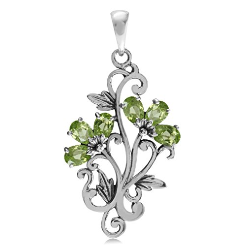 1.2ct. Natural Peridot White Gold Plated 925 Sterling Silver Victorian Style Flower & Leaf (White Leaf Pendant)