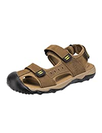 Mens Leather Velcro Straps Sandals Outdoor Beach Summer Open Toe Durable Outsole Flip Flops Fishing Walking Black Brown Yellow 6.5-10