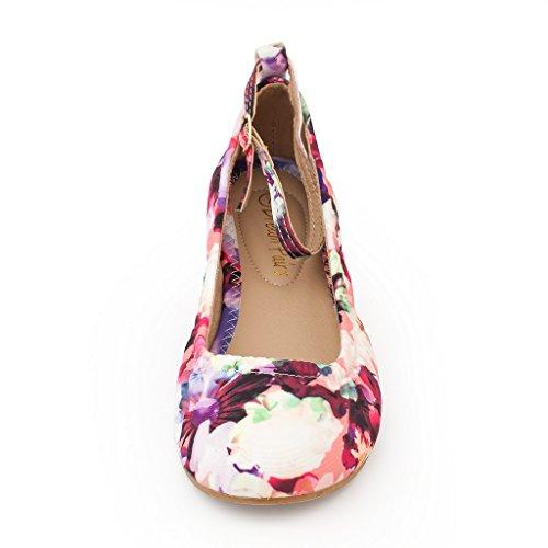 Ankle DREAM PAIRS Floral Straps Fina Women's Sole Ballet Shoes Flats Straps rXPTqXwd