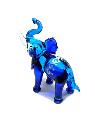 - Handmade Mini Blue Elephant with Thai Art Glass Blown Wild Animal Figurine No.8 - Model Y2019 (Blue, Thai Art)