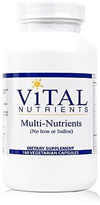 Vital Nutrients - Multi-Nutrients (No Iron or Iodine) - Comprehensive Multi-Vitamin/Mineral Formula With Potent Antioxidants - 180 Capsules