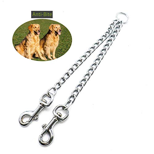 Timoo Dual Dog Leash Coupler Walking & Training Leash Two Dogs, Heavy Duty Electroplated Chrome Alloy, 24 Inches