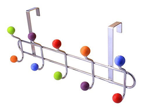 Multi Hook Door (Heavy Duty Stainless Steel Drill-Free Over The Door Organizer Rack 10 Hooks Chrome Finish - Multi Color Ceramic Knobbed Hanger)