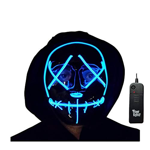 Trippy Lights LED Light Up Stitchface Mask for Halloween, Costumes, Festivals, and Parties