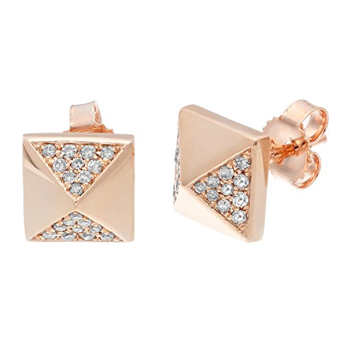(10K Rose Gold Pyramid Stud Earrings with 0.15 Cttw Diamonds)