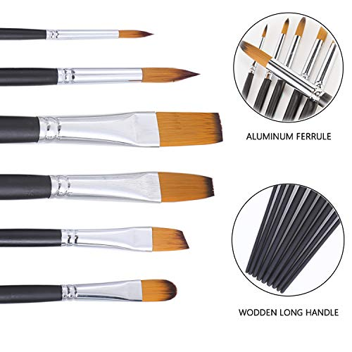 Artist Paint Brushes, MIYAZ 6 Pcs Paint Brush Set Nylon Paintbrushes Long Handle with Super Absorbent Cleaning Towel Bleu for Professional Watercolor Acrylic Oil Painting Drawing, Adults Kids