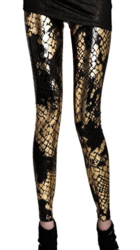 Panegy Stretch Snake Veins Scales Digital Printing Leggings Pencil Pants (Printed Snake)